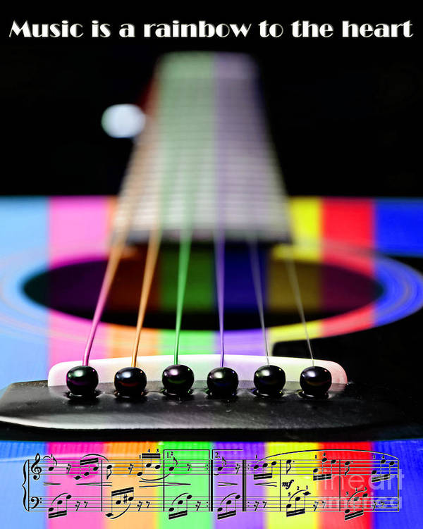 Guitar Poster featuring the photograph Music Is A Rainbow To The Heart by Andee Design