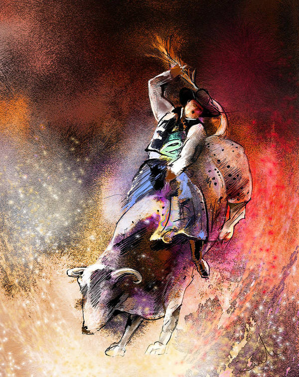 Animals Poster featuring the painting Rodeoscape 01 by Miki De Goodaboom