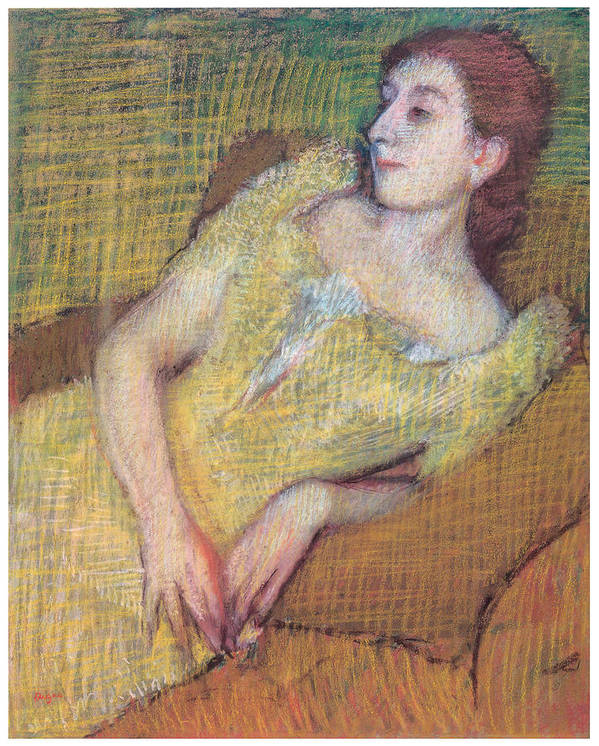 Seated Woman In A Yellow Dress Poster featuring the pastel Seated Woman In A Yellow Dress by Edgar Degas