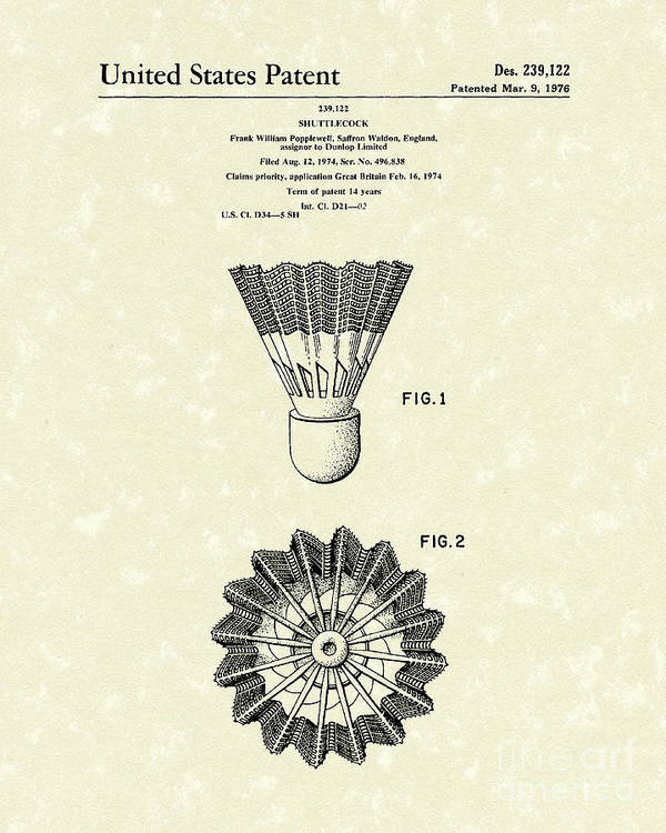 Shuttlecock Poster featuring the drawing Shuttlecock 1976 Patent Art by Prior Art Design