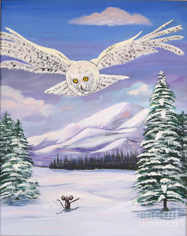 Snowy Mountains Poster featuring the painting The Owl And The Rat by Phyllis Kaltenbach