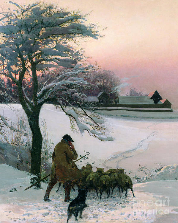 Winter Poster featuring the painting The Shepherd by EF Brewtnall