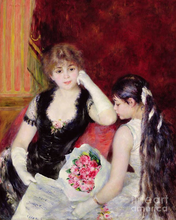 Female; Seated; Audience; Mother And Daughter; Elegant; Fashionable; Bouquet Of Flowers; Bunch; Box; Thoughtful; Pensive; Impressionist Poster featuring the painting At The Concert by Pierre Auguste Renoir