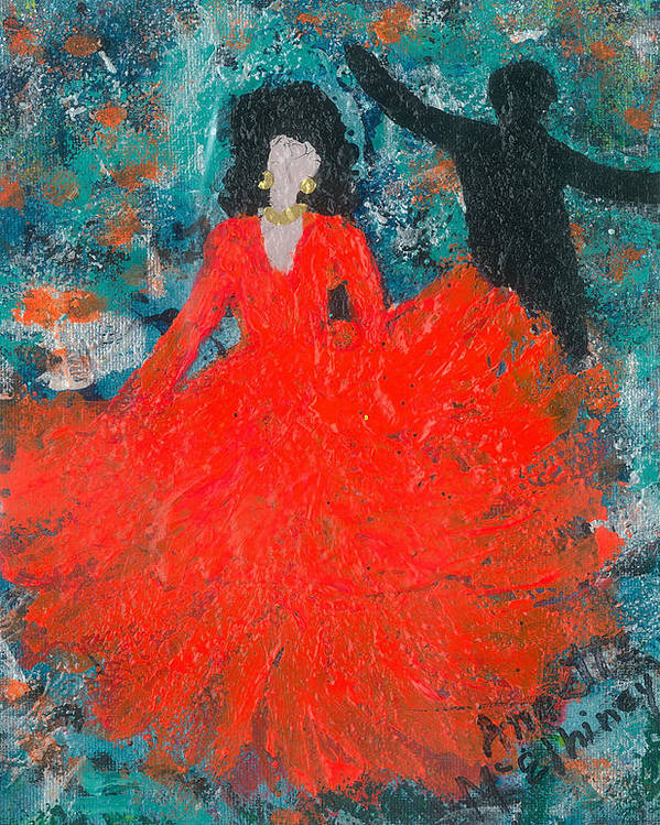 Women Poster featuring the painting Dancing Joyfully With Or Without Ned by Annette McElhiney