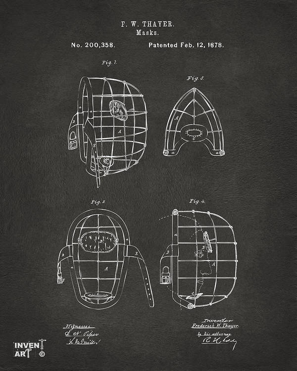 Baseball Poster featuring the drawing 1878 Baseball Catchers Mask Patent - Gray by Nikki Marie Smith