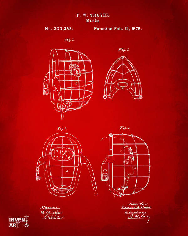 Baseball Poster featuring the digital art 1878 Baseball Catchers Mask Patent - Red by Nikki Marie Smith