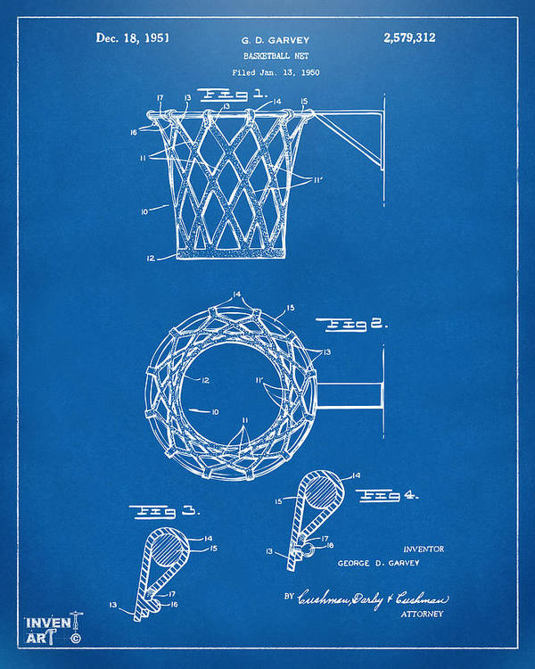 Basketball Poster featuring the drawing 1951 Basketball Net Patent Artwork - Blueprint by Nikki Marie Smith