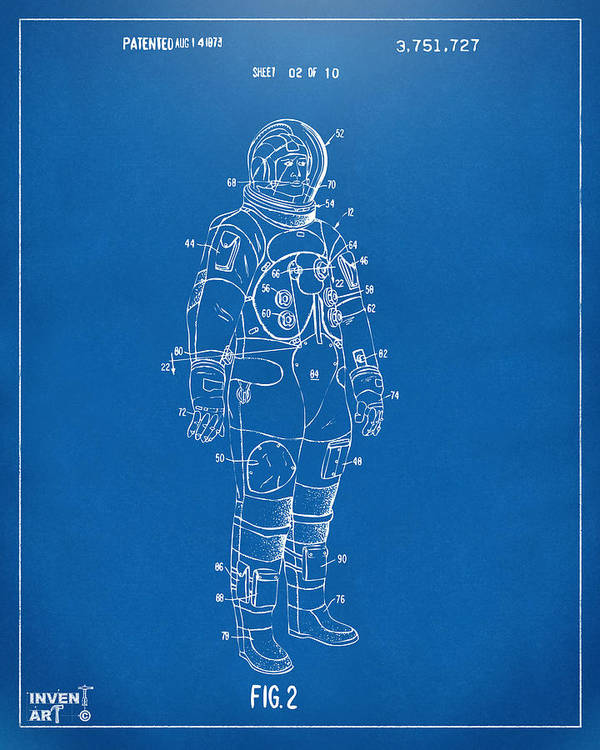 Space Suit Poster featuring the drawing 1973 Astronaut Space Suit Patent Artwork - Blueprint by Nikki Marie Smith