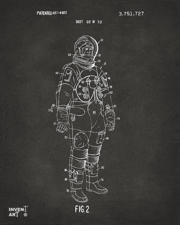 Space Suit Poster featuring the drawing 1973 Astronaut Space Suit Patent Artwork - Gray by Nikki Marie Smith