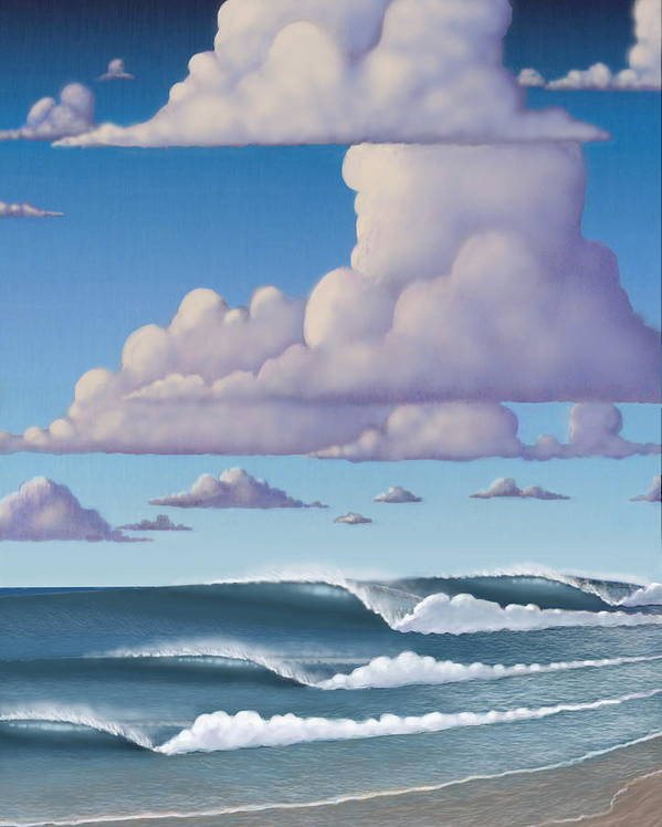Surf Poster featuring the mixed media Abeautiful Day At The Beach by Tim Foley
