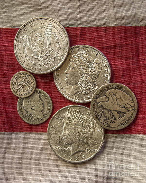 Silver Coin Poster featuring the photograph American Silver Coins by Randy Steele
