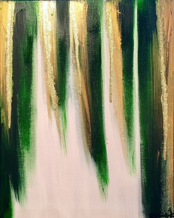 Abstract Poster featuring the painting Aurelian Emerald by Alisha Anglin