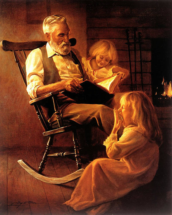 Storytime Poster featuring the painting Bedtime Stories by Greg Olsen