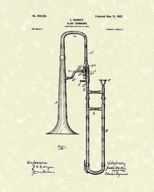 Music Poster featuring the drawing Brass Trombone Musical Instrument 1902 Patent by Prior Art Design