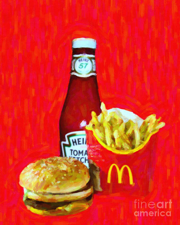 Mcdonald Poster featuring the photograph Burger Fries And Ketchup by Wingsdomain Art and Photography