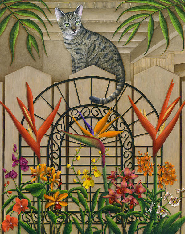 Gray Tabby Cat Poster featuring the painting Cat Cheetah's Fence by Carol Wilson