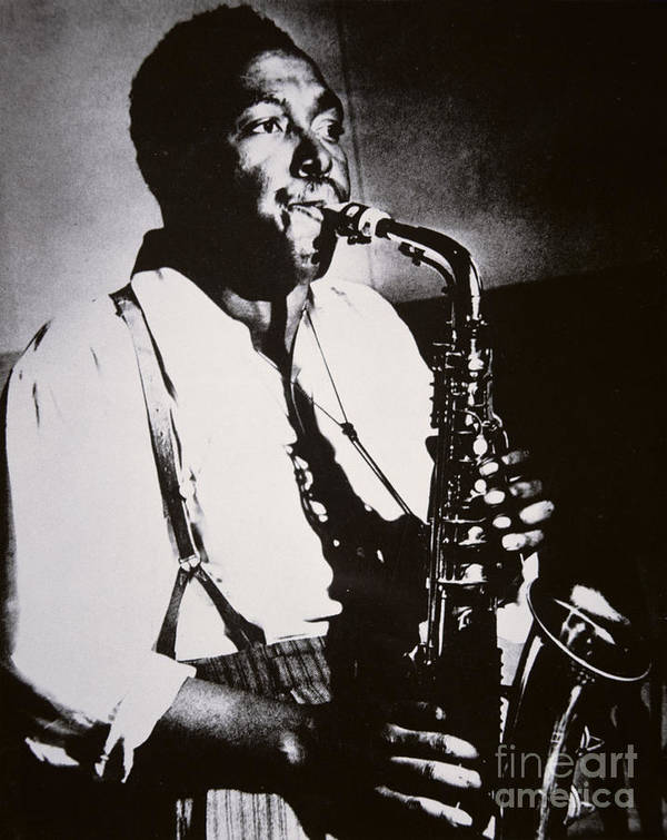 Male; Half Length; Saxophone; Musician; Musical; Instrument; Music; Black; Negro; African American; African-american; Portrait; Jazz; Saxophonist; Braces; Composer; Nickname Yardbird; Bird; Virtuoso; Suspenders; Entertainment Poster featuring the photograph Charlie Parker by American School