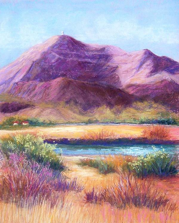 Landscape Poster featuring the pastel Cristo Rey In Autumn by Candy Mayer