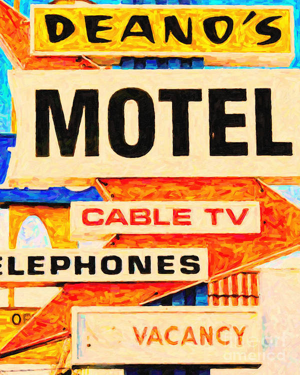 Deanos Motel Poster featuring the photograph Deanos Motel by Wingsdomain Art and Photography