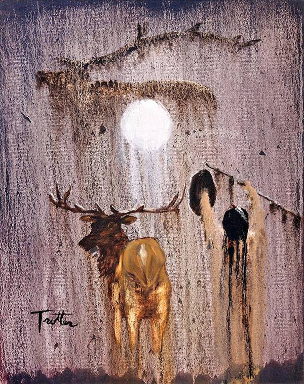 Native Art Poster featuring the painting Elk Spirit by Patrick Trotter