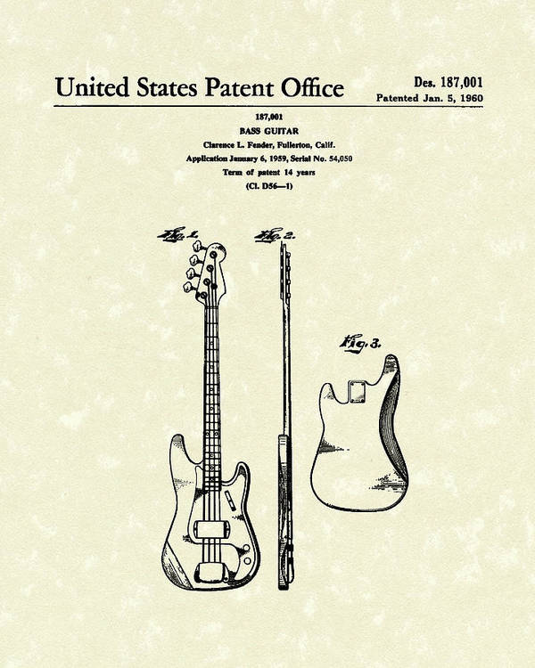 Fender Poster featuring the drawing Fender Bass Guitar 1960 Patent Art by Prior Art Design