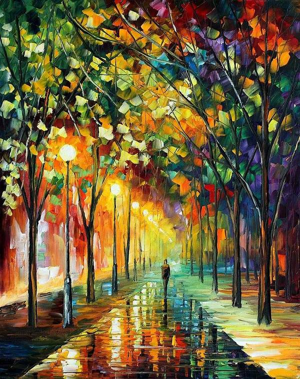 Afremov Poster featuring the painting Green Dreams by Leonid Afremov