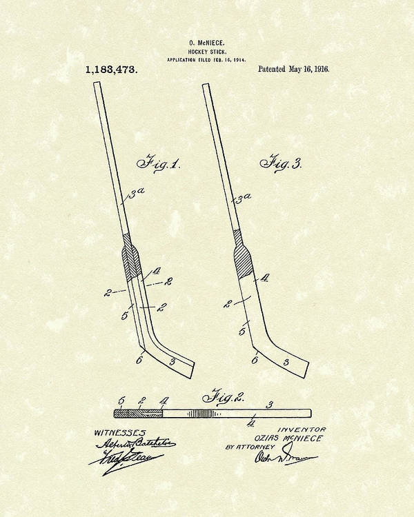 Hockey Poster featuring the drawing Hockey Stick Mcniece 1916 Patent Art by Prior Art Design