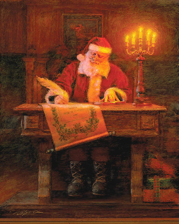 Christmas Poster featuring the painting Making A List by Greg Olsen
