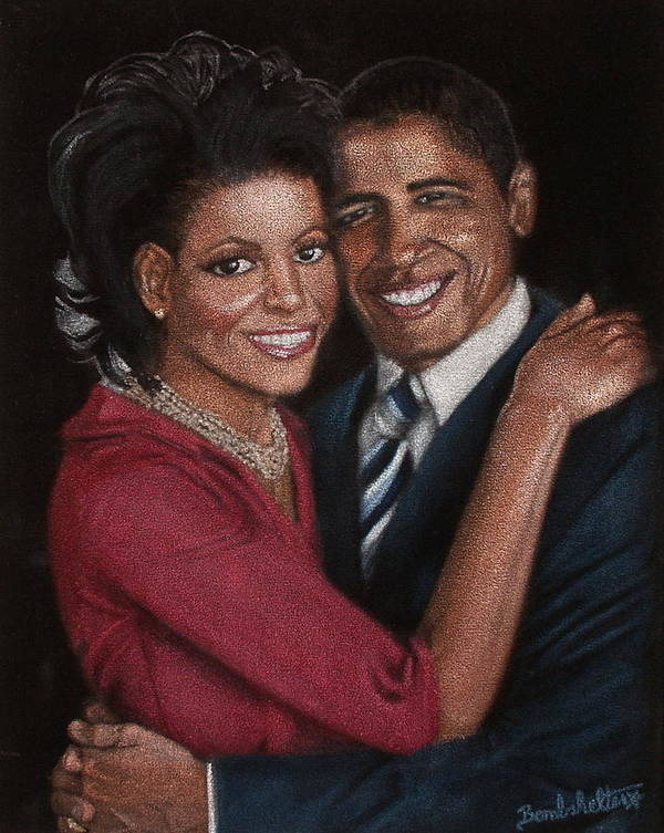 Black Velvet Poster featuring the painting Michelle And Barack by Diane Bombshelter
