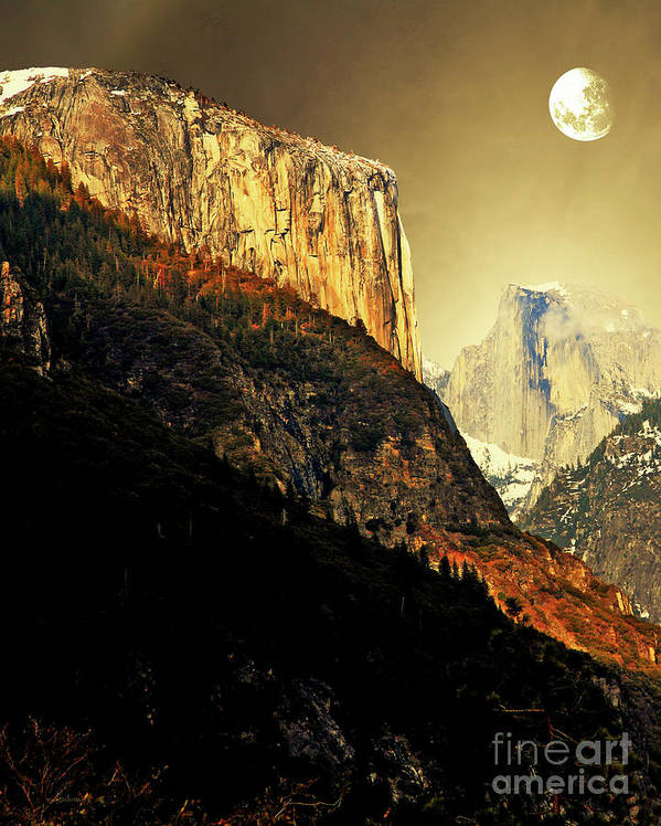 Landscape Poster featuring the photograph Moon Over Half Dome . Portrait Cut by Wingsdomain Art and Photography