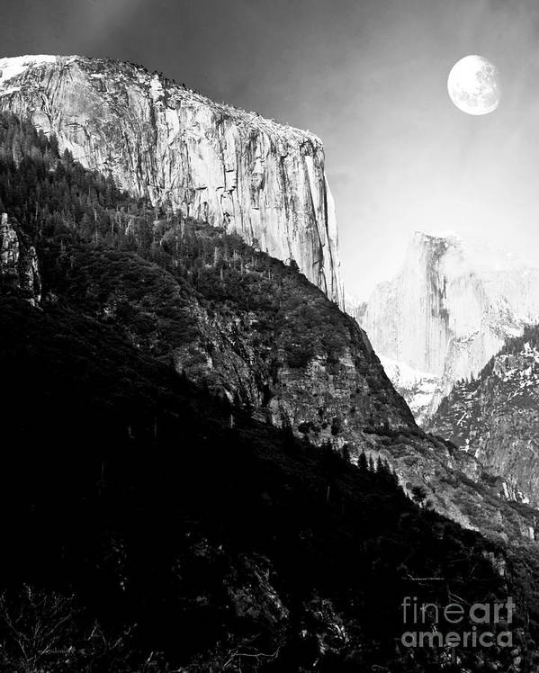 Black And White Poster featuring the photograph Moon Over Half Dome . Black And White by Wingsdomain Art and Photography