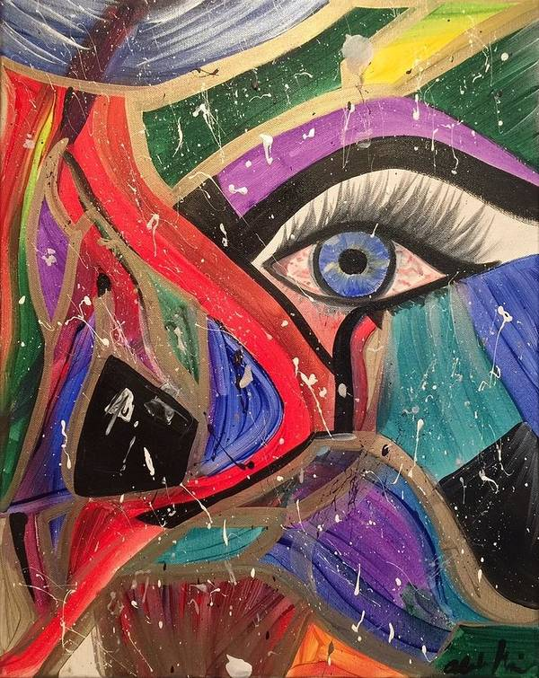 Abstract Poster featuring the painting Motley Eye by Alisha Anglin