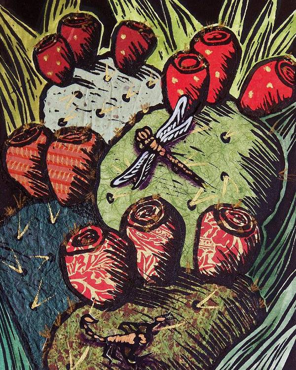 Prickly Pear Poster featuring the mixed media Prickly Pear by Candy Mayer