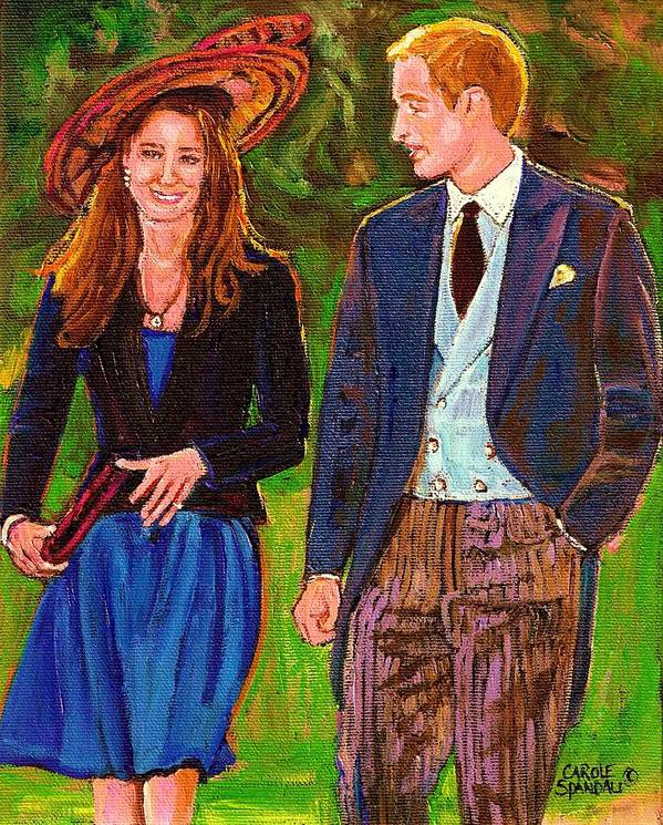 Wills And Kate Poster featuring the painting Prince William And Kate The Young Royals by Carole Spandau