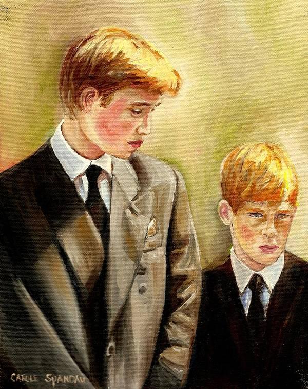 Prince William And Prince Harry Poster featuring the painting Prince William And Prince Harry by Carole Spandau