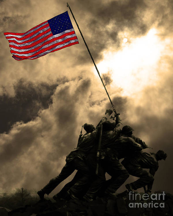 Iwo Jima Poster featuring the photograph Raising The Flag At Iwo Jima 20130211 by Wingsdomain Art and Photography