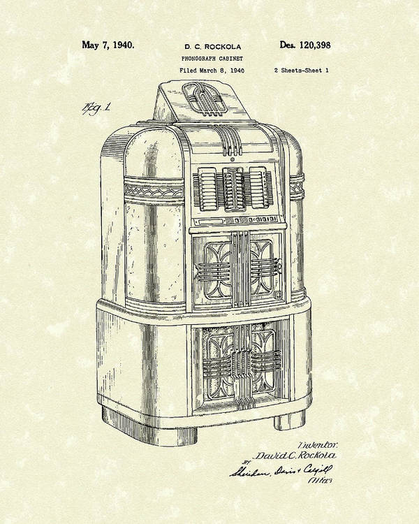 Rockola Poster featuring the drawing Rockola Phonograph Cabinet 1940 Patent Art by Prior Art Design