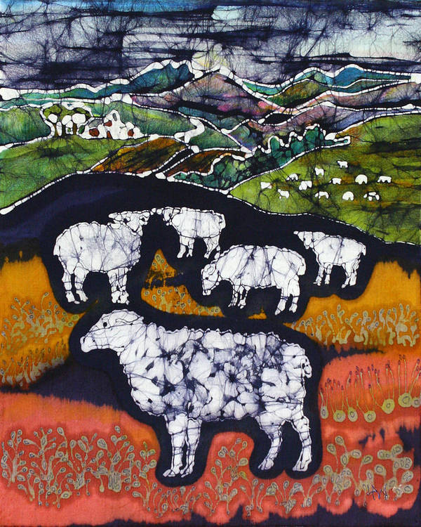 Sheep Poster featuring the tapestry - textile Sheep At Midnight by Carol Law Conklin