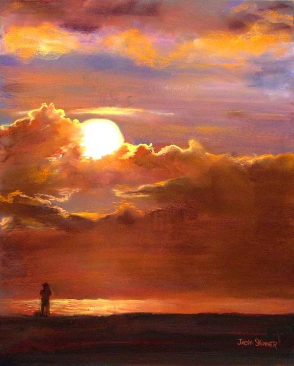 Sunset Poster featuring the painting The Last Cast by Jack Skinner