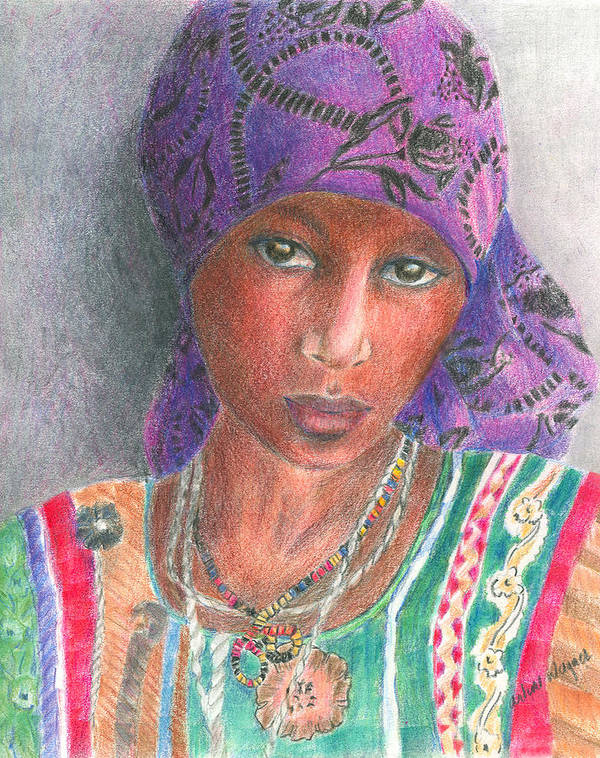 Purple Poster featuring the drawing The Purple Scarf by Arline Wagner