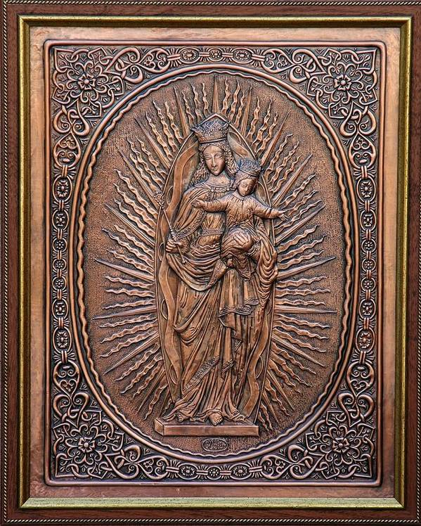 Reliefs Poster featuring the relief The Virgin Mary With Jesus Christ by Netka Dimoska