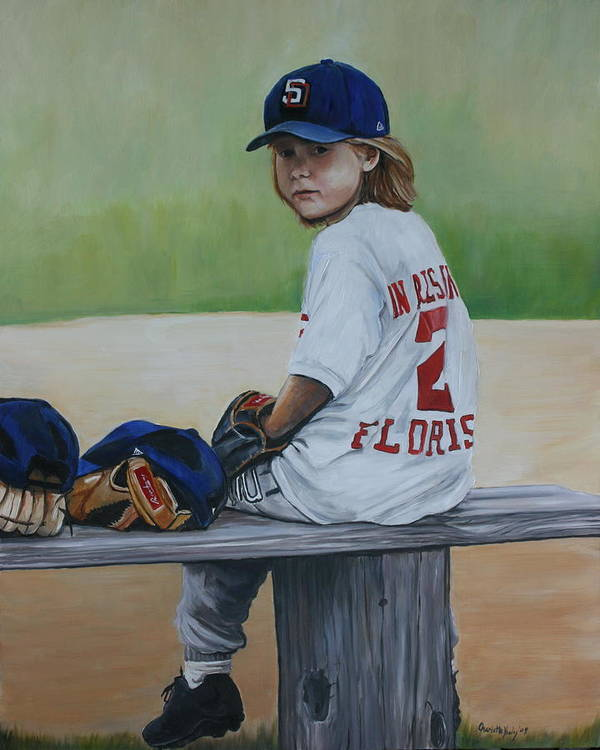 Portrait Poster featuring the painting Time On The Bench by Charlotte Yealey