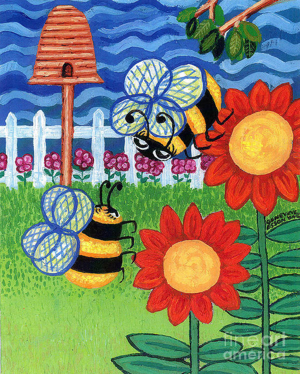 Sunflower Poster featuring the painting Two Bees With Red Flowers by Genevieve Esson