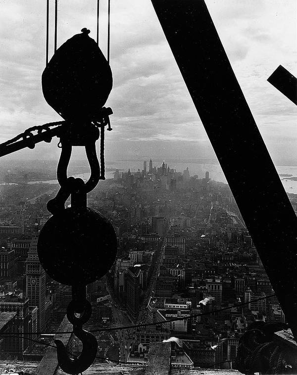 View; Lower Manhattan; Manhattan; Us; Usa; America; American; United States; New York; Urban; City; Cityscape; Architecture; 1930s; 30s; Thirties; Photography; Black And White Photograph; B/w Photo; Hook; Winch; Construction; Empire State Building; Landmark; History; Historical; Building; Dramatic; Scenic; Picturesque; Achievement Poster featuring the photograph View Of Lower Manhattan From The Empire State Building by LW Hine