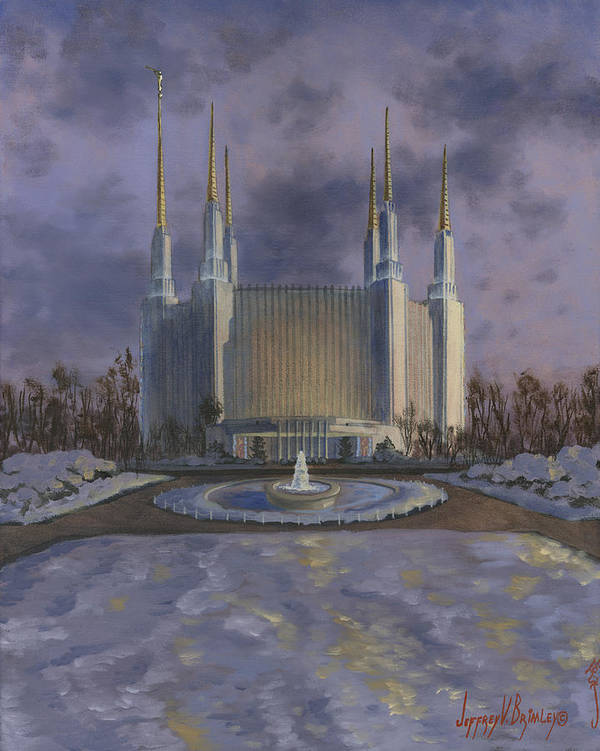 Lds Paintings Poster featuring the painting Washington Dc Temple by Jeff Brimley