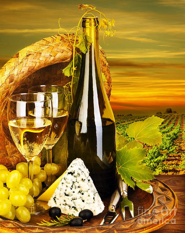 Still Life Poster featuring the photograph Wine And Cheese Romantic Dinner Outdoor by Anna Om