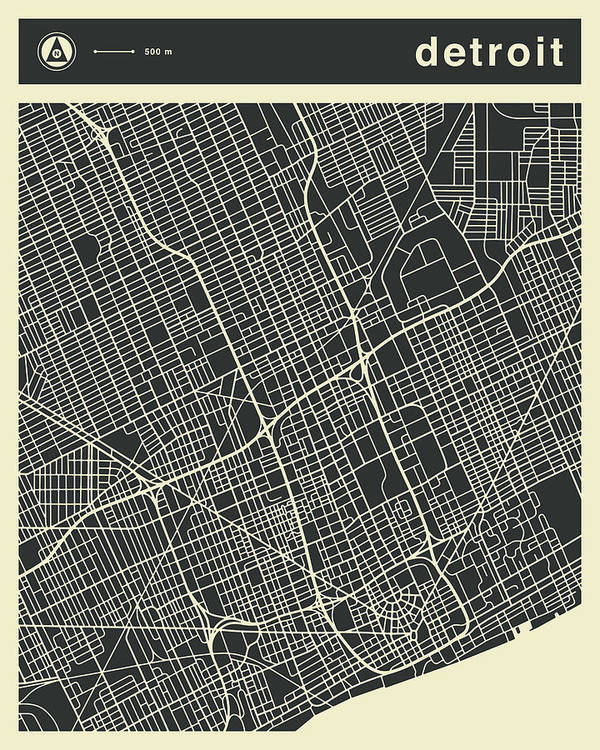 Detroit Poster featuring the digital art Detroit Map 3 by Jazzberry Blue