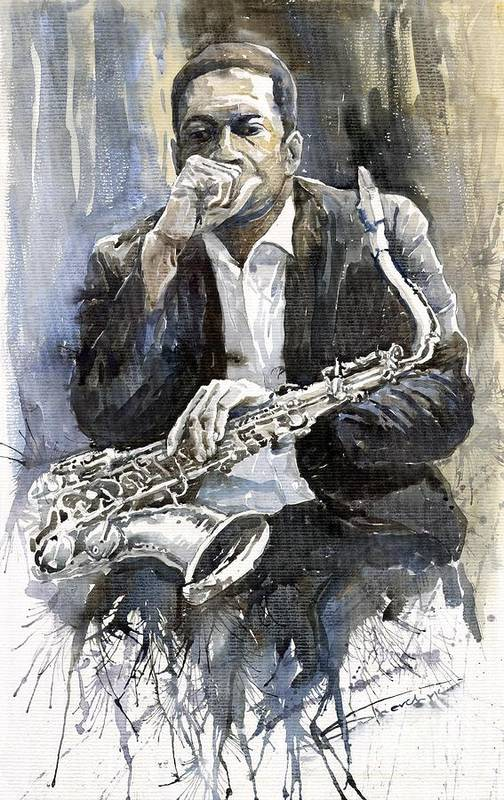 Jazz Poster featuring the painting Jazz Saxophonist John Coltrane yellow by Yuriy Shevchuk