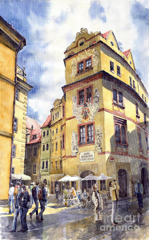 Architecture Poster featuring the painting Prague Karlova Street Hotel U Zlate Studny by Yuriy Shevchuk