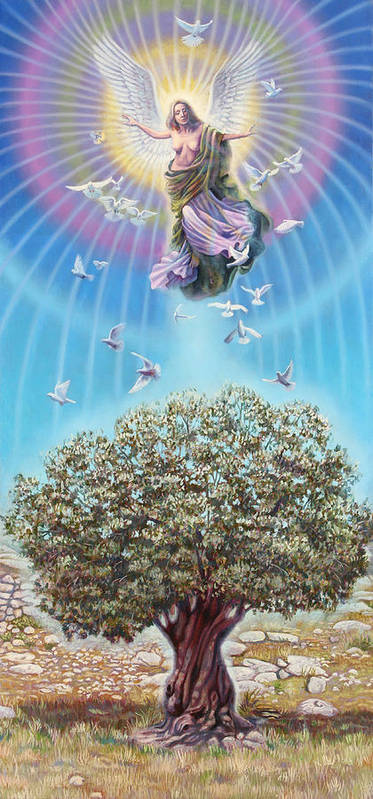 Olive Poster featuring the painting Angel over the olive tree by Miguel Tio